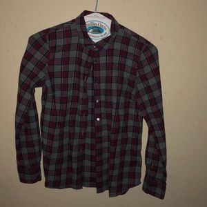 J Crew gray & red flannel shirt